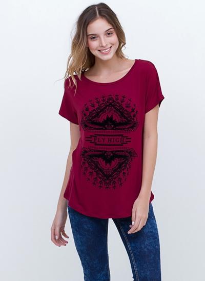 T-Shirt Flock com Fendas Laterais