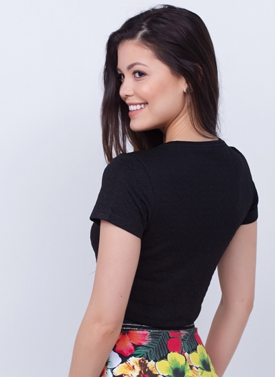 Blusa Cropped Texturizada