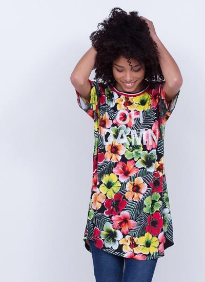 Blusa Alongada OH DAMN! Floral