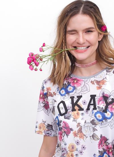 Blusa OKAY Alongada Floral