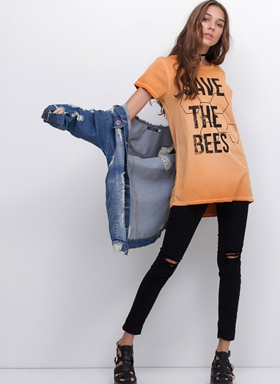 T-Shirt Bees Alongada