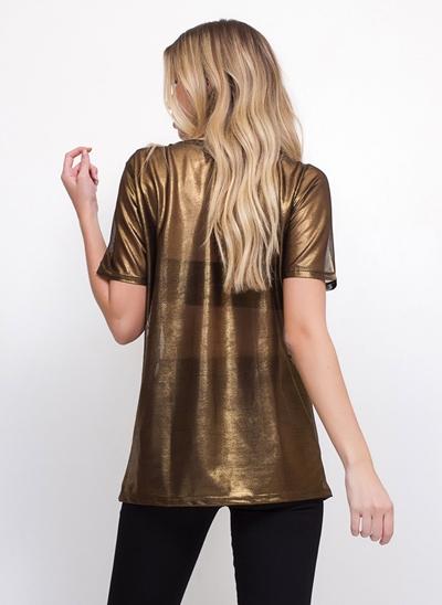 Blusa Alongada Metalizada Transparente