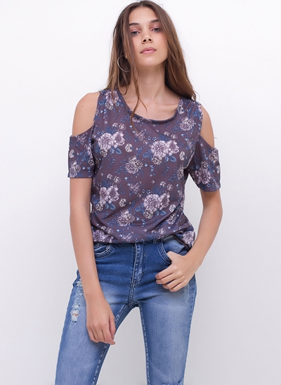 Blusa Floral Ombros de Fora