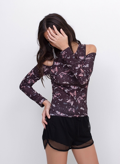 Blusa Cropped Butterfly Ombros Vazados