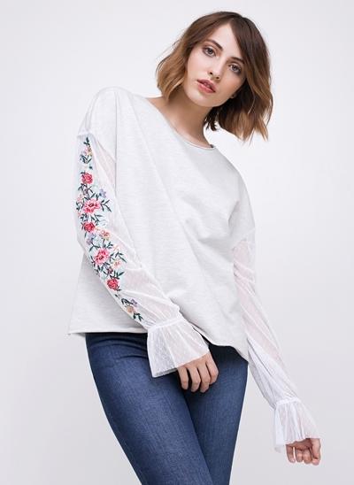 Blusa em Moletom com Bordado Floral