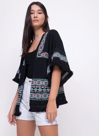 Kimono Étnico com Franjas