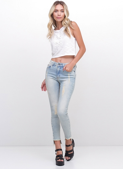 Regata Cropped com Renda Aplicada