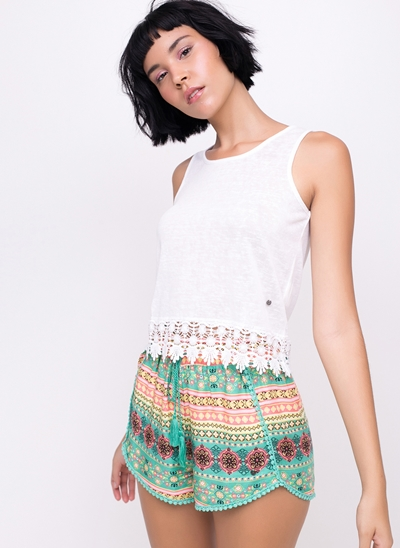 Regata Cropped com Renda na Barra