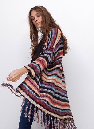 Kimono Alongado Irregular com Franjas