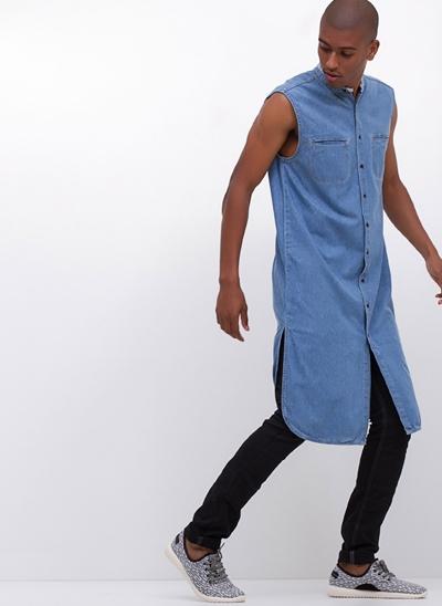 Camisa Jeans Alongada Sem Mangas