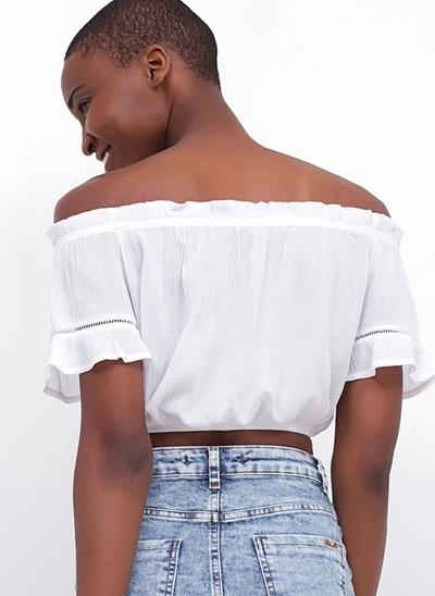 Blusa Cropped Ombro a Ombro Ciganinha