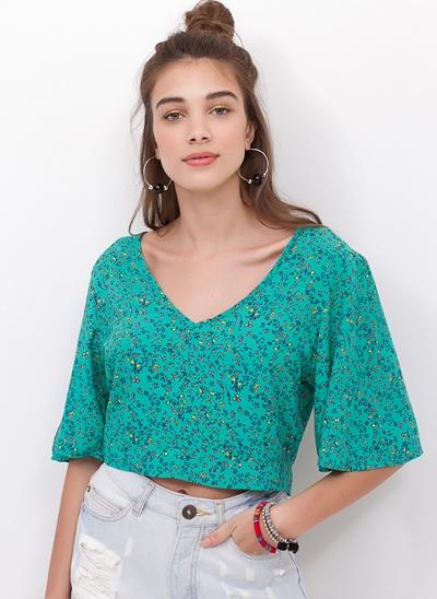 Blusa Cropped com Amarração Costas