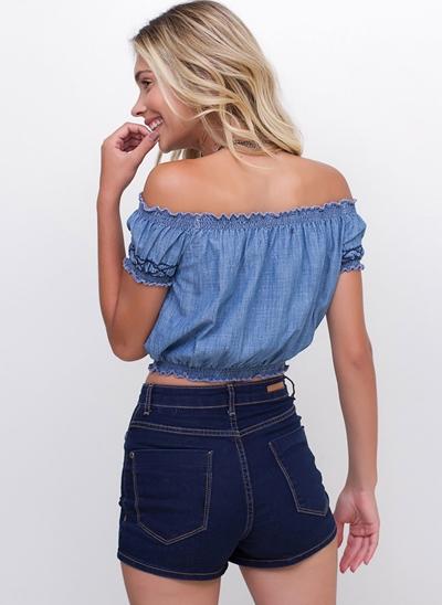 Blusa Cropped Jeans Ciganinha Bordada