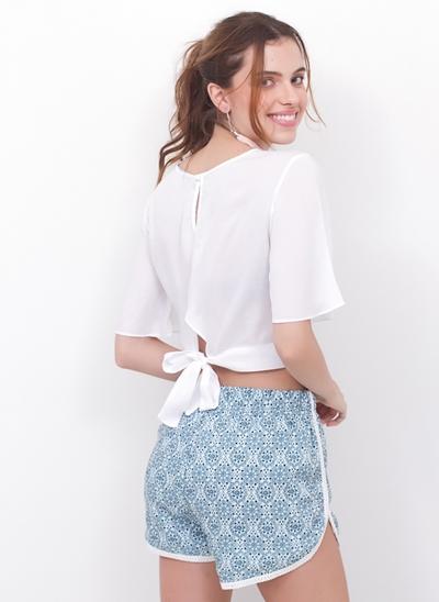 Blusa Cropped Renda com Amarração Costas
