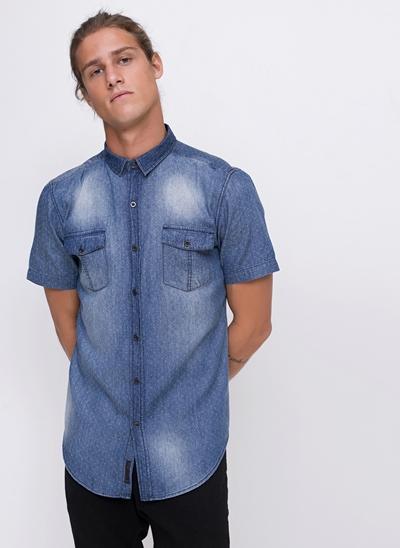 Camisa Poá em Jeans