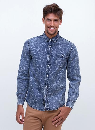 Camisa Manga Longa com Efeito Dots