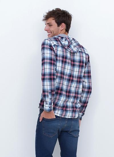 Camisa de Flanela Xadrez com Capuz