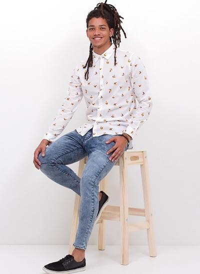 Camisa Slim Manga Longa Birds