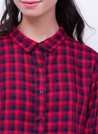 Camisa Cropped Manga Longa Xadrez