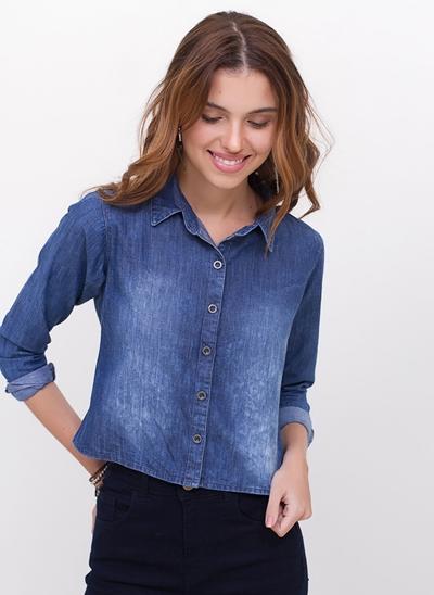 Camisa Cropped Manga Longa em Jeans
