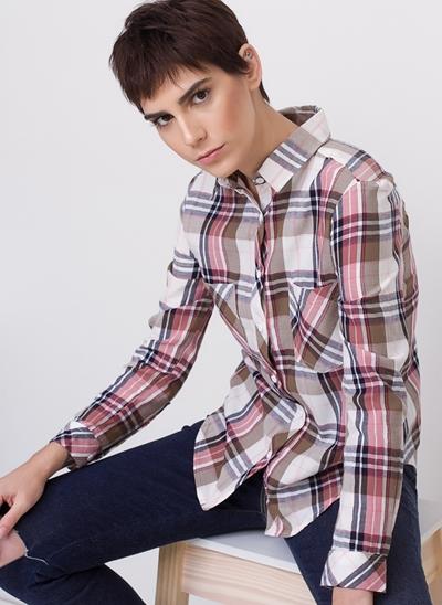 Camisa Manga Longa Xadrez com Bolsos
