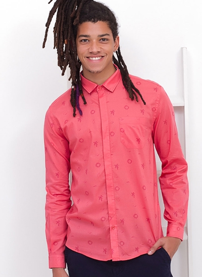 Camisa Slim Coral Icons