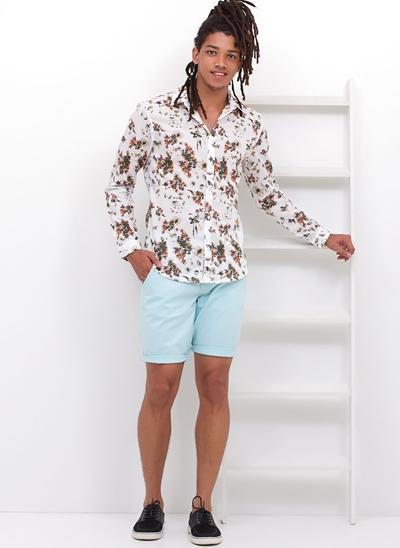 Camisa Slim Manga Longa Floral