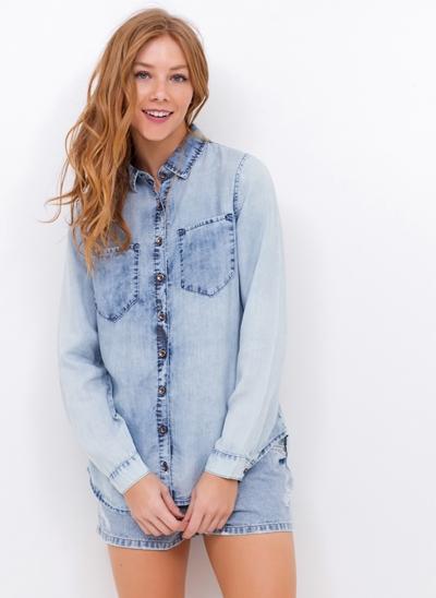 Camisa Jeans Manga Longa Recorte Costas