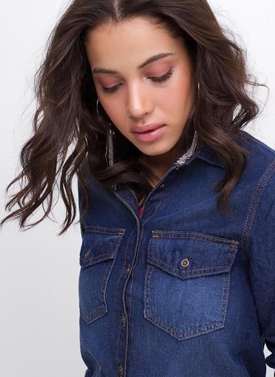 Camisa Regular com Bolsos em Jeans