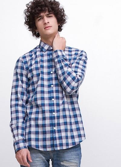 Camisa Regular Xadrez Manga Longa