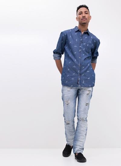 Camisa Libélulas em Jeans
