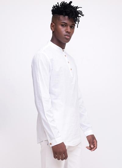 Camisa Bata Manga Longa com Botões