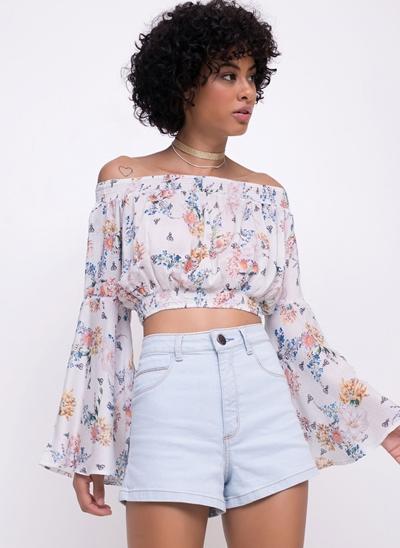 Blusa Cropped Ciganinha Floral