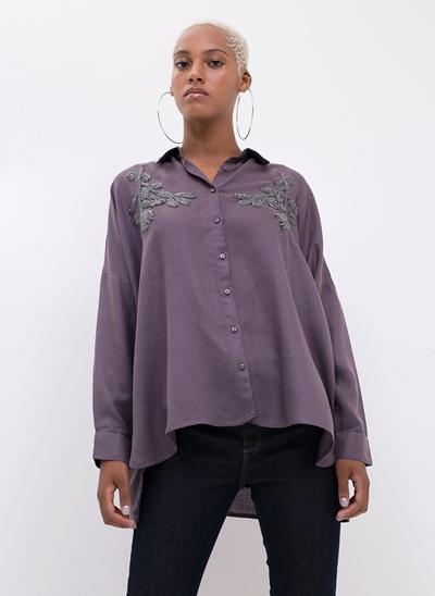 Camisa Ampla Bordada