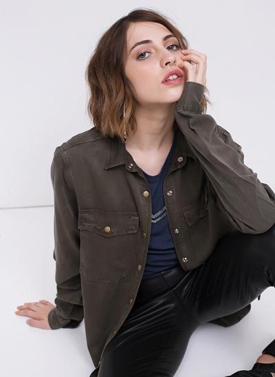 Camisa Alongada em Jeans