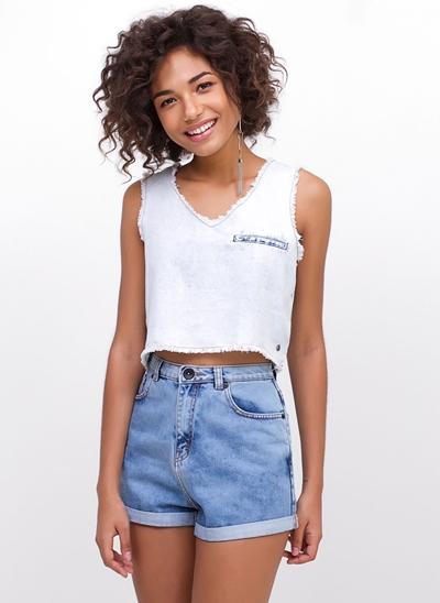 Regata Cropped Jeans Desfiada