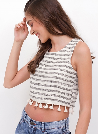 Regata Cropped Listrada com Lurex