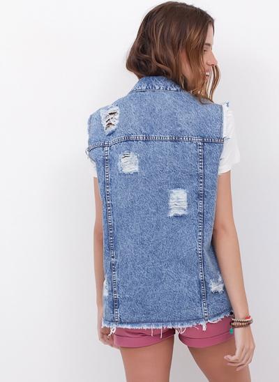 Colete Alongado em Jeans Destroyed