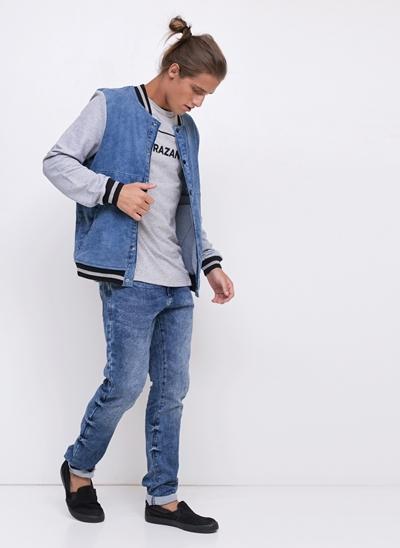 Jaqueta College em Jeans e Moletom