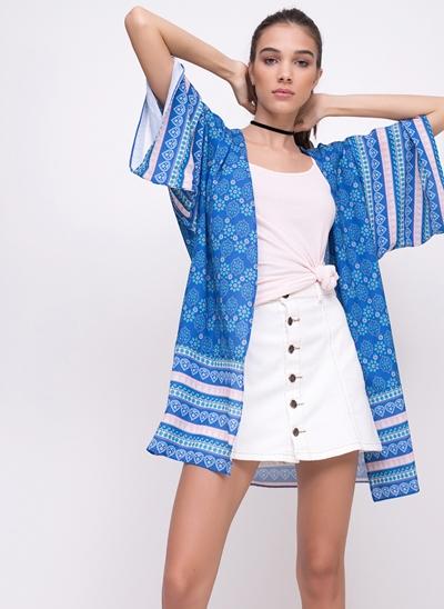 Kimono Alongado Estampa Lenço