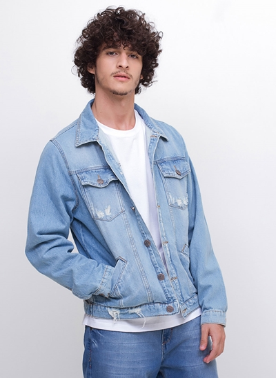 Jaqueta em Jeans Delavê