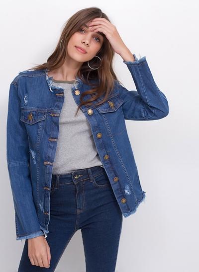 Jaqueta Future em Jeans Desfiado