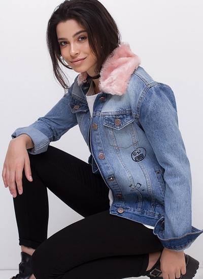 Jaqueta Alongada com Pelinhos em Jeans