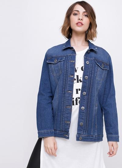 Jaqueta Alongada em Jeans
