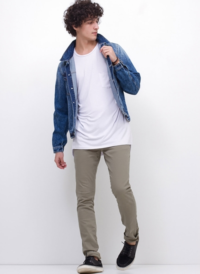 Jaqueta Oversized em Jeans Marmorizado