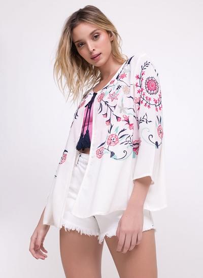 Kimono Bordado Floral