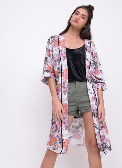 Kimono Floral Alongado