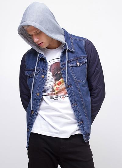 Jaqueta Jeans com Capuz e Mangas Nylon