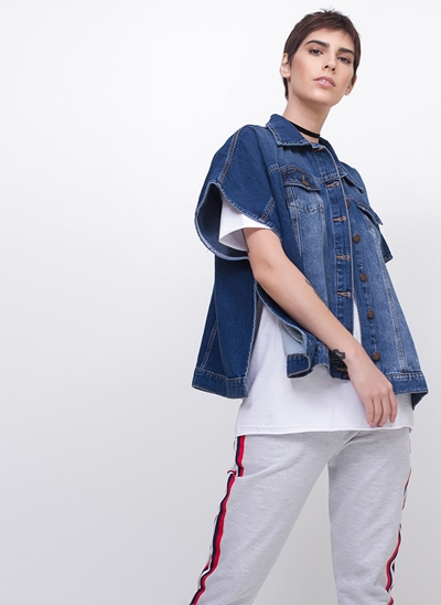 Jaqueta Poncho em Jeans