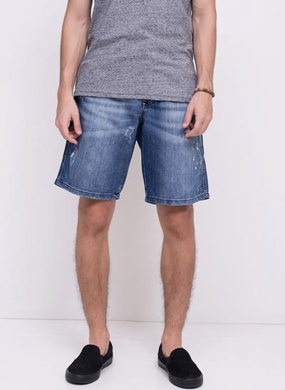 Bermuda Jeans com Puídos e Respingos